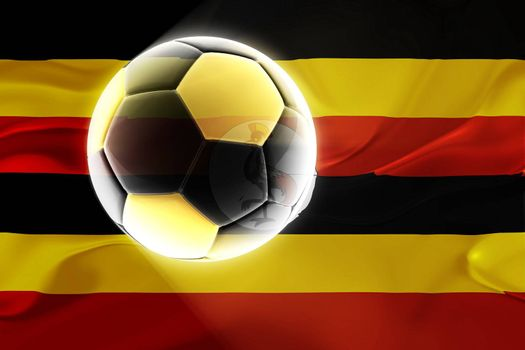 Flag of Uganda, national country symbol illustration wavy fabric sports soccer football