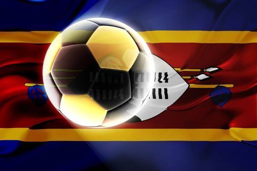 Flag of Swaziland, national country symbol illustration wavy fabric sports soccer football