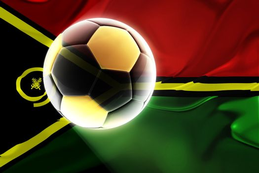 Flag of Vanuatu, national country symbol illustration wavy fabric sports soccer football