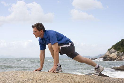 Jogger doing fitness exercises