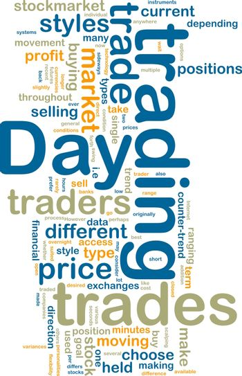 Word cloud tags concept illustration of day trading