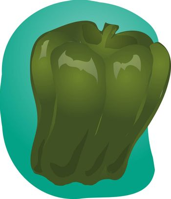 Sketch ofa bell pepper. Hand-drawn lineart look illustration