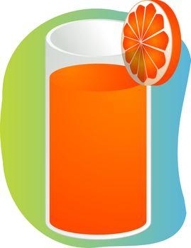 Glass of orange juice with orange slice, illustration