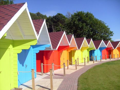 Colorful seaside beach chalets