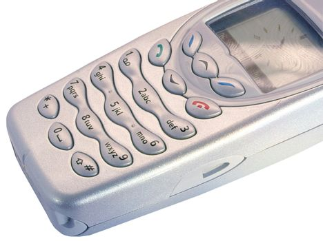 silver mobile phone isolated