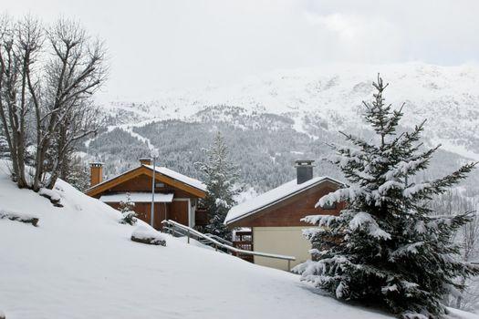 Ski resort Chalet after snow storm