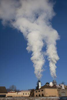 smoke and steam plume