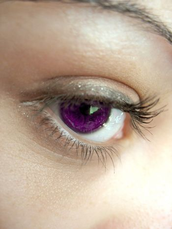 A macro shot of a woman's purple eye and lashes - shallow depth of field.