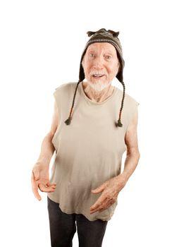 Crazy senior man in knit cap