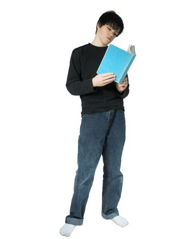 isolated teen reading a book