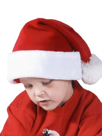 isolated child in santa hat with expression