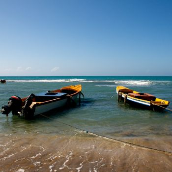 Colorful Boats on the island of Jamaica in the caribbean