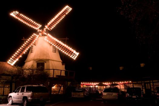 Christmas decorations on a windmill in Solvang, CA