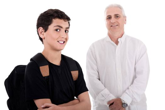 Portrait of young teenager with his grandfather on white background