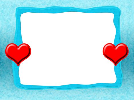 Icy Love Frame with Red Hearts