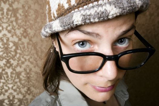 Nerdy Woman in a Knit Cap