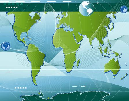 communication; abstract world map background with arrows and waves
