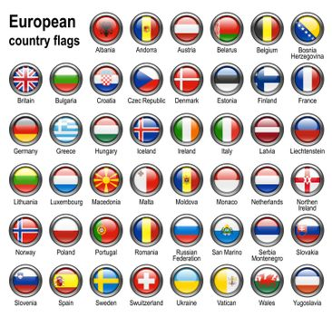 shiny web buttons with european contry flags