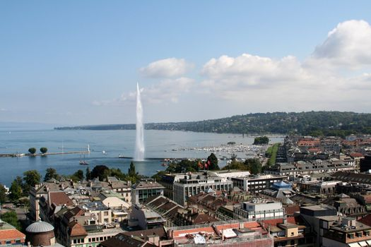 Jet d'eau on Lake Geneva in Geneva Switzerland