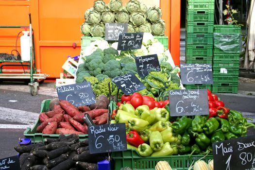 Vegetables on display in outdoor farmers' market in Switzerland