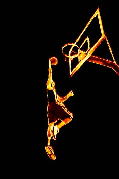 Fiery Basketball Slam Dunk
