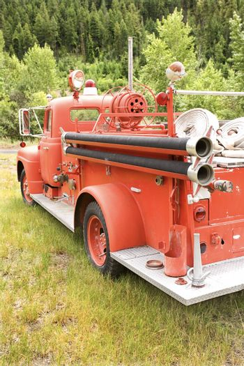 Rear view of old fire truck.