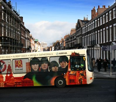 Liverpool public transport bus commemorating Capital of Culture 2008