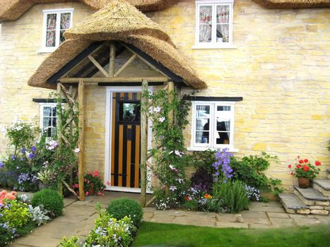 English home  with front door and garden