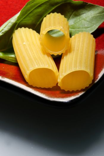 Rigattoni with basilicum on red plate