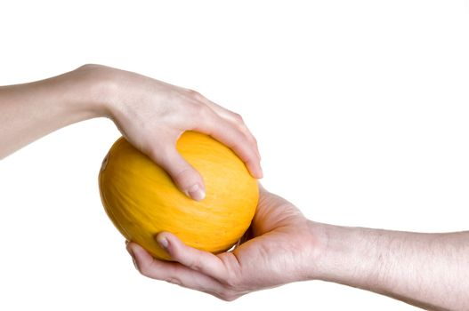 Hands passing mellon