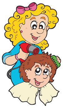 Cartoon hair stylist