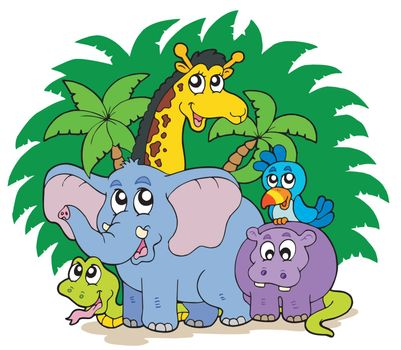 Group of African animals - vector illustration.
