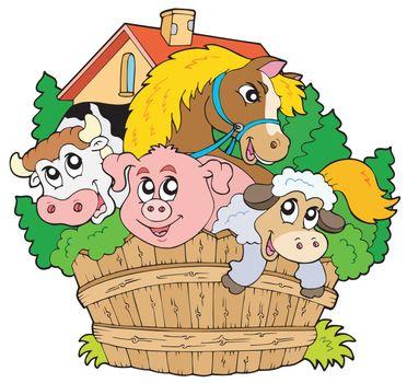 Group of farm animals - vector illustration.