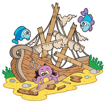 Shipwreck at sea bottom
