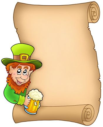 Parchment with leprechaun and beer