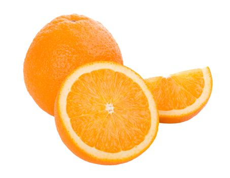 close-up oranges with leaves, isolated on white
