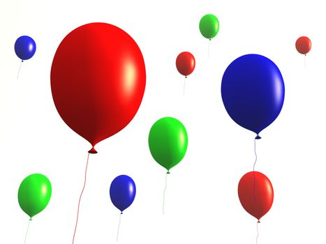 3D rendered Balloons. Isolated on white.