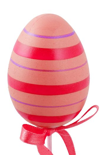 a red and ping easter egg isolated on the white background
