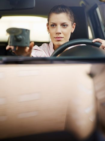 woman using global positioning system