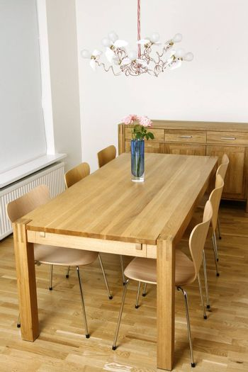 New and trendy dining room with modern furniture