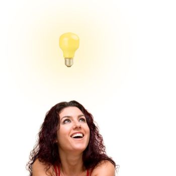 Beautiful woman with bright idea.