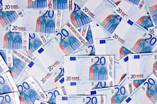 Lots of twenty euro bills. Euro background.
