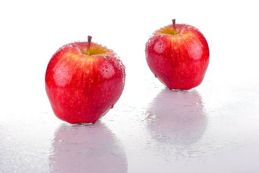 Two bright red apples, with water drops, on white background.