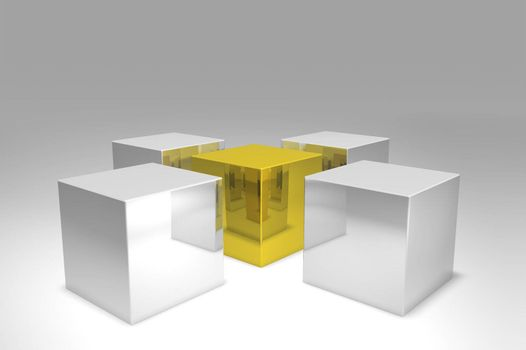 3D render. Golden cube surrounded by silver cubes. Metal surface.