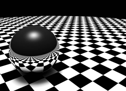 Metal sphere on checkered floor.