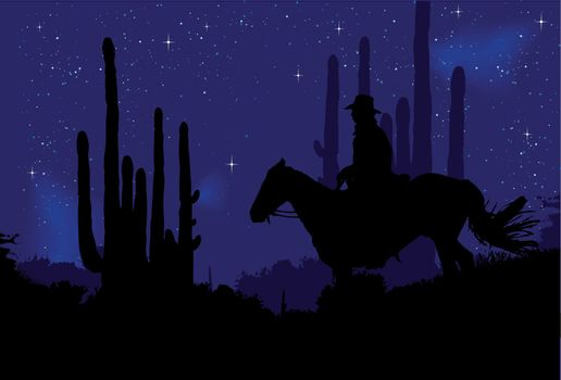 Cowboy in the night