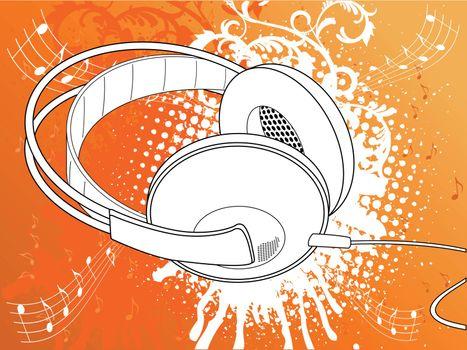 Orange Grunge Headphone