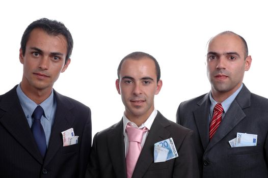 three businessman with money in pocket