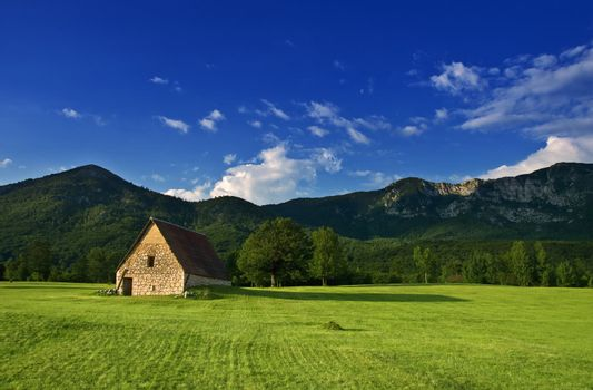 rural landscape with old house on the field