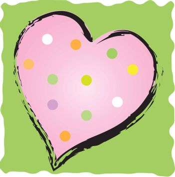 Fun polkadot heart with brush stroke outline